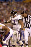 Ray Lewis in Super Bowl XXXV. Baltimore Ravens LB Ray Lewis.  (Image taken from color slide Royalty Free Stock Photo