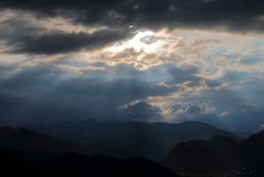 Ray of Life. In the mountains of Slovenia, in the area of Lake Bled Royalty Free Stock Photography