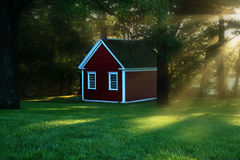 Ray Of Light. Rays of light gently touch this one room school house Stock Photography
