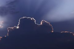 Ray of light. Rays of light in the clouds Royalty Free Stock Images