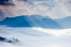 Ray of light , cloud and mountain Royalty Free Stock Photo