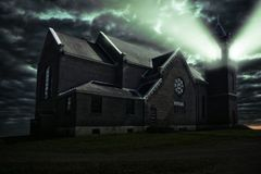 Ray of light coming from the bell tower of one haunted church. Photo manipulation, 3D illustration Stock Illustration