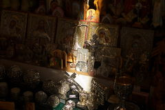 Ray Of Light On Jesus. Ray of light falling on a Jesus figurine in a religious shop in Jerusalem, Israel Stock Photo