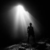 Ray of light. In Jomblang cave yogyakarta Stock Photo