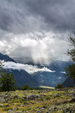 The ray of light. Low cloud on the way to mushroom rocks, Altai Stock Photos