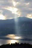 Ray of light Orta Lake, Italy Stock Photos