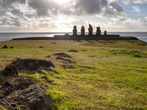 Ray of Light in Tahai. Sunset rays of light in the Ahu Tahai, Easter Island Royalty Free Stock Images