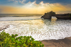 Ray of Lights at Pura Batu Bolong, Tanah Lot, Indonesia Royalty Free Stock Photography