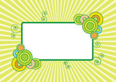 Yellow retro banner. Illustration of pale yellow and lime banner with circles and swirls and blank white area for added text royalty free illustration