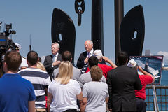 Ray Mabus and Pat Quinn at USS Illinois Ceremony Stock Images