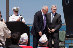 Ray Mabus and Pat Quinn at USS Illinois Ceremony Stock Photo