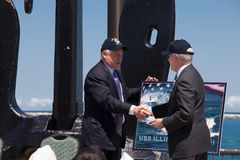 Ray Mabus and Pat Quinn at USS Illinois Ceremony Stock Image