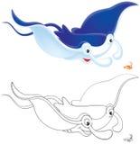 Ray Manta and krill Royalty Free Stock Photo