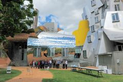 Ray and Maria Stata Center on the campus of MIT. Ray and Maria Stata Center on the campus of MIT May 16, 2019 in Boston, MA. The academic complex was designed stock image