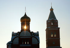 Free Ray Of Sunset Lighting Trough Church Silhouette Stock Image - 3875041