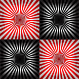 Ray pattern black & white & red background Stock Photos