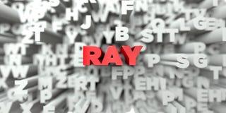 RAY - Rode tekst op typografieachtergrond - 3D teruggegeven royalty vrij voorraadbeeld Stock Afbeeldingen
