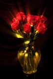 Ray Roses in a Yellow Vase Stock Photography