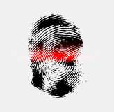 Ray scanner scan fingerprint. Vector illustration close-up Royalty Free Stock Photography