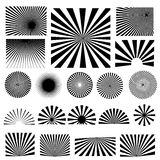 Ray and spiral design set Royalty Free Stock Images