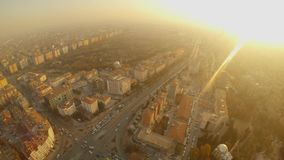 Ray of sun and turkish city in the haze from a bird`s flight altitude. KONYA / TURKEY - 11.20.2016 central streets of the ancient Turkish city stock footage