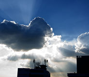 Ray of sunshine from cloud Stock Photos