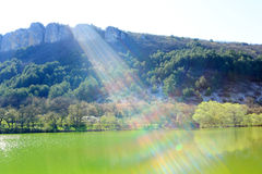 Ray of sunshine from the mountain lake. Mangup-Kale, Crimea, Ukr Stock Photography