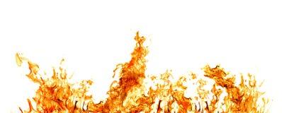 Raya anaranjada del fuego aislada en blanco Imágenes de archivo libres de regalías