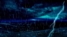 Raya de la lluvia del relámpago almacen de video