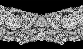 Raya inconsútil - ornamento floral del cordón - blanco encendido  Fotografía de archivo libre de regalías