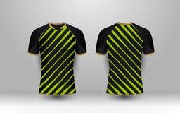 Raya negra y verde con los equipos del fútbol del deporte del modelo del oro, jersey, plantilla del diseño de la camiseta stock de ilustración