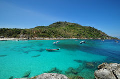 Raya tropical island and sea view. Thailand summer nature Stock Photo