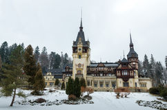 Rayal palace Peles. In winter Royalty Free Stock Photography