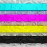 Rayas arrugadas CMYK Fotografía de archivo libre de regalías