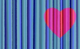 Rayas azules con el corazón rosado Foto de archivo libre de regalías