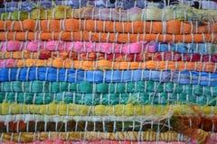 Rayas coloridas de la materia textil Imagenes de archivo