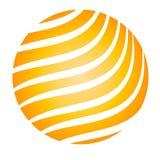 Rayas del amarillo de la bola que brillan intensamente Foto de archivo libre de regalías