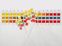 Rayas del pH en el fondo blanco imagen de archivo libre de regalías