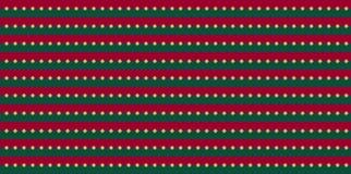 Rayas horizontales verdes rojas de la Navidad con los puntos de oro del garabato imagen de archivo