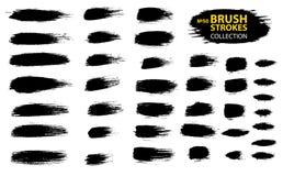 Rayas pintadas del grunge fijadas Etiquetas negras, fondo, textura de la pintura El cepillo frota ligeramente vector libre illustration