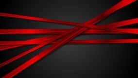 Rayas rojas brillantes abstractas en la animación negra del vídeo del fondo