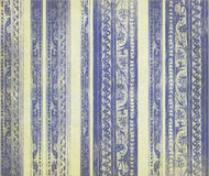 Rayas talladas madera floral azul Imágenes de archivo libres de regalías