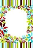 Rayas y frontera del marco de las flores Foto de archivo