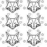 Rayez l'animal mignon de tête de renard avec le fond de coeurs d'american national standard d'étoiles Photos stock