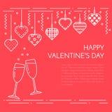 Rayez la bannière horizontale pour le jour du ` s de Valentine de saint et aimez le thème illustration de vecteur