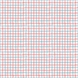 Rayez le guingan d'aspiration rouge, modèle de répétition sans couture bleu et blanc T Photo stock