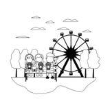 Rayez les enfants asseyant et mangez du maïs éclaté dans le carnaval illustration de vecteur