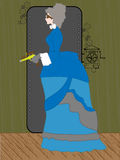 Raygun da terra arrendada da mulher de Steampunk no ajuste rústico - Fotografia de Stock Royalty Free