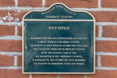 Post Office Plaque in Rayleigh stock photos