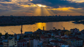 Raylight over Istanbul. Sunset with raylight over Istanbul in the evening Royalty Free Stock Image
